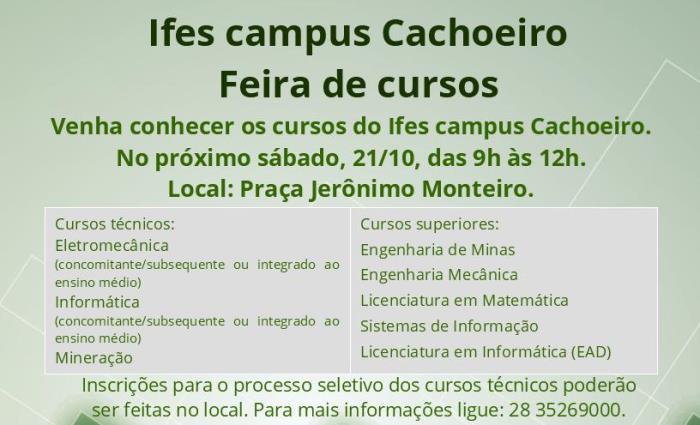 Feira de Cursos do Ifes dia 21 de Outubro na Praça Jerônimo Monteiro