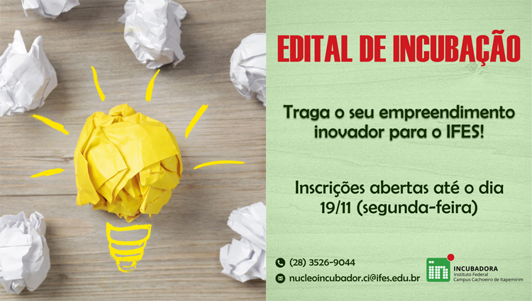 Campus Cachoeiro abre inscrições para a Seleção de Empreendimentos para Incubação