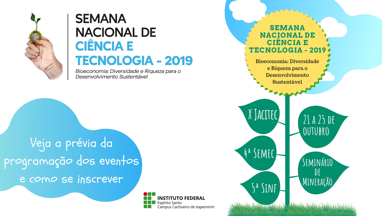Campus Cachoeiro divulga prévia da programação da 16ª Semana Nacional de Ciência e Tecnologia