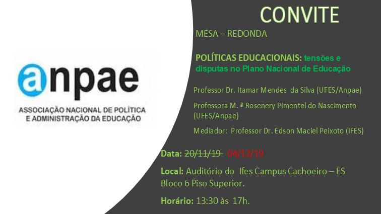 Mesa Redonda sobre Políticas Educacionais: tensões e disputas no Plano Nacional de Educação