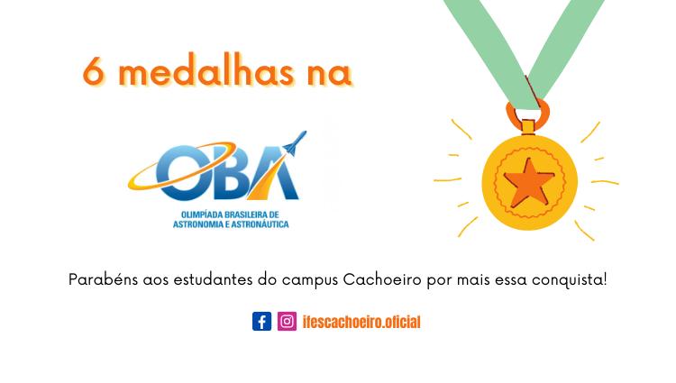 Estudantes do Campus Cachoeiro conquistaram 6 medalhas na OBA